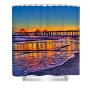 Huntington Beach Pier Sundown Shower Curtain by Jim Carrell