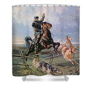 Huntsman With The Borzois Shower Curtain by Rudolph Frenz