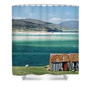 Hut On West Coast Of Isle Shower Curtain by Rob Penn