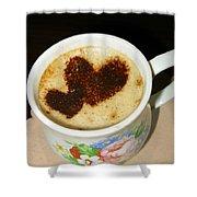 I Love You. Hearts In Coffee Series Shower Curtain by Ausra Paulauskaite