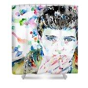 Ian Curtis Smoking Cigarette Watercolor Portrait Shower Curtain by Fabrizio Cassetta