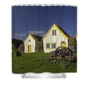 Icelandic Turf Houses Shower Curtain by Claudio Bacinello