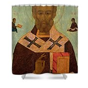 Icon Of St. Nicholas Shower Curtain by Russian School