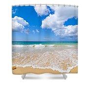 Idyllic Summer Beach Algarve Portugal Shower Curtain by Amanda And Christopher Elwell