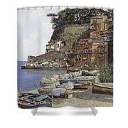 il porto di Sorrento Shower Curtain by Guido Borelli
