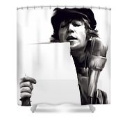 In Studio John Lennon Shower Curtain by Iconic Images Art Gallery David Pucciarelli