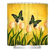 In the Butterfly Garden Shower Curtain by Edward Fielding