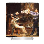 In The Mid Time Detail Shower Curtain by Thomas Eakins