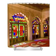 India, Stained Glass Windows Of Fort Shower Curtain by Bill Bachmann