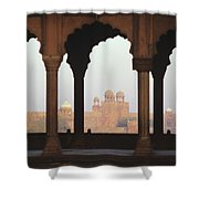 India, View Of Red Fort From Jama Shower Curtain by Richard Maschmeyer