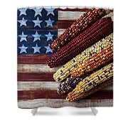 Indian Corn On American Flag Shower Curtain by Garry Gay