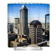 Indianapolis Aerial Picture Of Downtown Office Buildings Shower Curtain by Paul Velgos