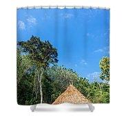 Indigenous Hut Shower Curtain by Jess Kraft