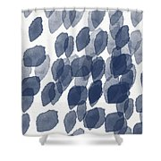Indigo Rain- Abstract Blue And White Painting Shower Curtain by Linda Woods