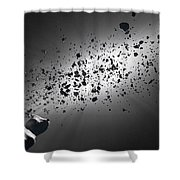 Inside The Asteroid Belt Against The Sun Shower Curtain by Johan Swanepoel