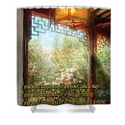Inspirational - Happiness - Simply Chinese Shower Curtain by Mike Savad