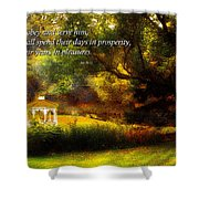 Inspirational - Prosperity - Job 36-11 Shower Curtain by Mike Savad