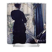 Interior Woman At The Window Shower Curtain by Gustave Caillebotte