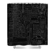 Into Nyc White On Black Shower Curtain by Meandering Photography