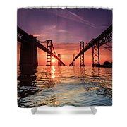 Into Sunrise - Bay Bridge Shower Curtain by Jennifer Casey