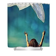 Into The Atmosphere Shower Curtain by Laura Fasulo