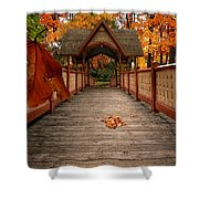 Into The Autumn Shower Curtain by Lourry Legarde