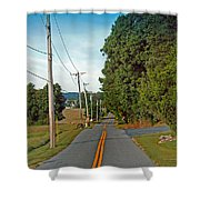 Into Town Shower Curtain by Skip Willits