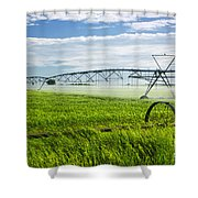Irrigation on Saskatchewan farm Shower Curtain by Elena Elisseeva