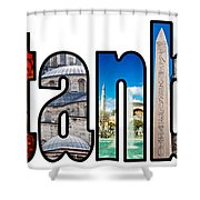 Istanbul Word Montage Shower Curtain by Antony McAulay