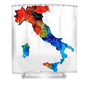 Italy - Italian Map by Sharon Cummings Shower Curtain by Sharon Cummings