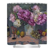 J. P. Chenet And Peonies Shower Curtain by Diane McClary