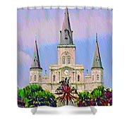 Jackson Square In The French Quarter Shower Curtain by Bill Cannon