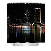 Jacksonville Skyline At Night Shower Curtain by Georgia Fowler