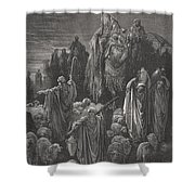 Jacob Goeth Into Egypt Shower Curtain by Gustave Dore