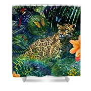 Jaguar Meadow Shower Curtain by Alixandra Mullins