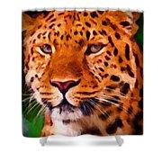 Jaguar Shower Curtain by Michael Pickett
