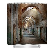 Jail - Eastern State Penitentiary - Endless Torment Shower Curtain by Mike Savad