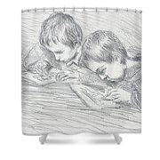 Jean Pierre Hoschede And Michel Monet Shower Curtain by Claude Monet