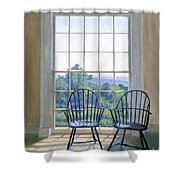 Jefferson And A Friend At Monticello Shower Curtain by Candace Lovely