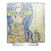 Jesus Guardian Angel Shower Curtain by Gloria Ssali