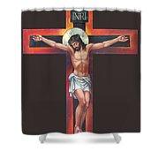 Jesus On The Cross Shower Curtain by Zorina Baldescu