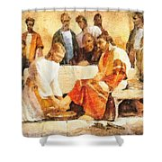 Jesus Washing Apostle's Feet Shower Curtain by Dan Sproul