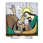Jesus Will Meet You Where You Are Shower Curtain by Anthony Falbo