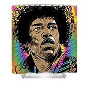 Jimi Hendrix Pop Art Shower Curtain by Jim Zahniser