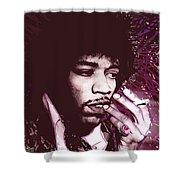 Jimi Hendrix Purple Haze Red Shower Curtain by Tony Rubino