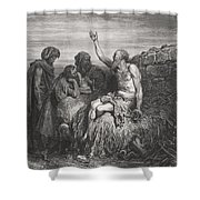 Job and his Friends Shower Curtain by Gustave Dore