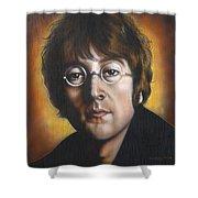 John Lennon Shower Curtain by Tim  Scoggins