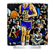 John Stockton Portrait Shower Curtain by Florian Rodarte
