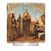 John Wycliffe Reading His Translation Of The Bible To John Of Gaunt Shower Curtain by Philip Ralley