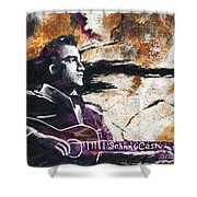 Johnny Cash Original Painting Print Shower Curtain by Ryan RockChromatic